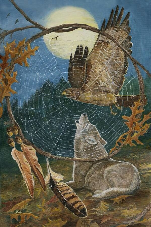 The Wolf - Mind (Mahat), longs for the freedom of Spirit - Eagle, but only travels home through fragments recalled by the dreamcatcher. Destiny foretold in the Moon, mapping countless journeys across his time-scape ~ Obyvatel