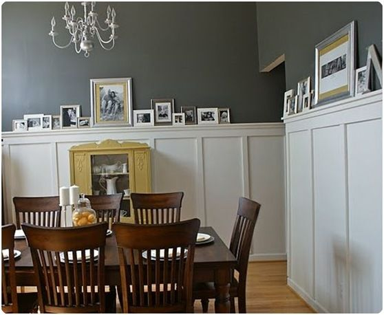 Way better than having to hang a bunch of frames!: Decor, Ideas, Wall Color, Living Room, Gray Dining Rooms, Diningroom, Board And Batten, Gray Wall