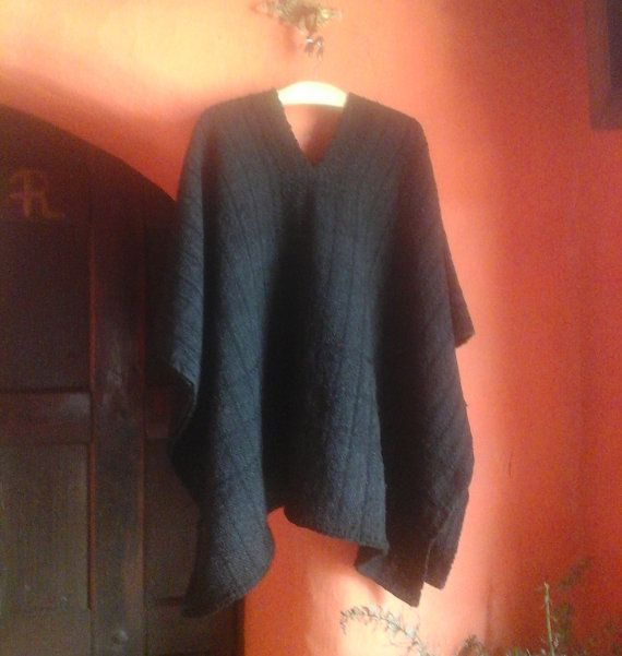 Hand Woven Ruana /100 % Pure Wool / Black Poncho / by CasaLunaCo