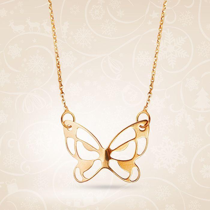 Lekka złota biżuteria na każdą okazję. Naszyjnik w kształcie motyla, wykonany z żółtego złota.  Cena: 429 PLN  http://www.yes.pl/45932-zloty-naszyjnik-ZW-Z-Z18-N42-ZCA7559