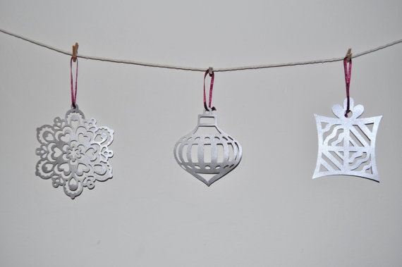 Christmas Sparkly Silver Laser Cut Decorations - Set of 3 - Snow Flake, Present and Bauble