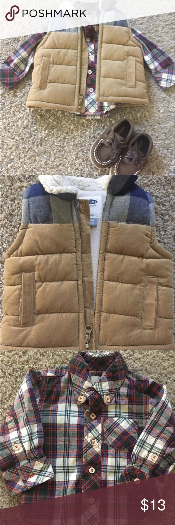 🔥SALE🔥 6-9mo boys outfit Old navy boy vest with Sherpa lining on neck and fleece lining inside. Long sleeve flannel to match. Both size 6-9 months. Comes with brown Sperry Brand shoes size 3! Reference closet #3 Matching Sets