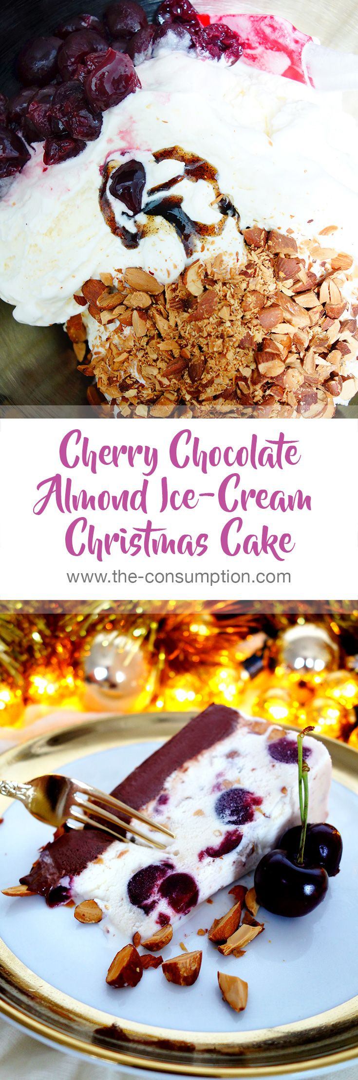 5 Ingredient Cherry Chocolate Almond Ice-Cream Christmas Cake. This recipe is super easy but the end result is fancy as f**k!  A Christmassy combination of vanilla, roast almonds, black cherries and chocolate <3