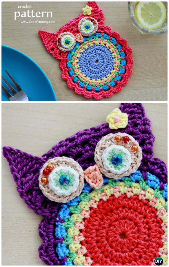 DIY Crochet Owl Coasters Applique Free Pattern- #Crochet Owl Ideas Free Patterns