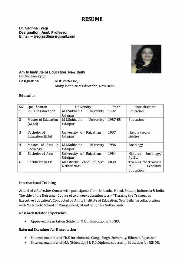 Entry Level Adjunct Professor Resume Best Of Resume For Assistant Professor Good Resume Examples Free Resume Samples Resume Template Examples