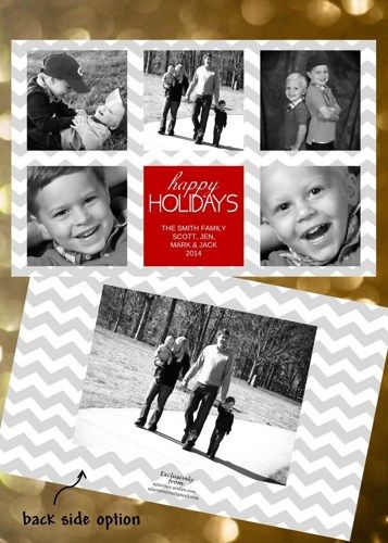 Holiday Christmas Photo Cards Add Photo(s) Any Colors Chevron