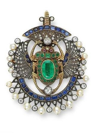 A multi gem-set and diamond scarab brooch/pendant, first quarter of the 20th…