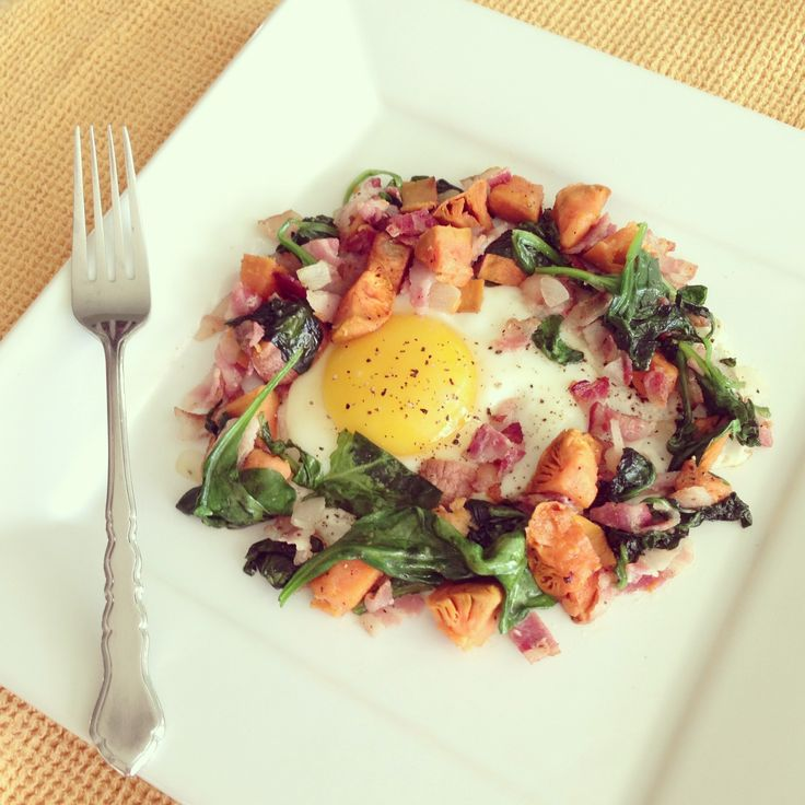 Sweet Potato, Spinach, and Bacon Breakfast Hash