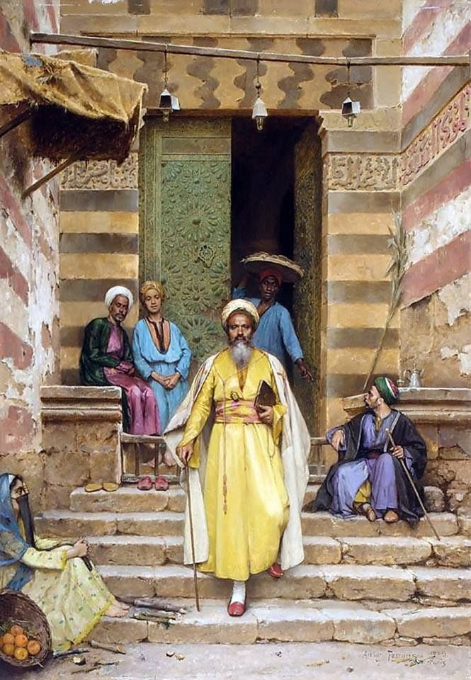 The Door Of The Mosque , Cairo 1889 By Arthur von Ferraris - Hungarian, 1856 -1936 Oil on panel , 64.7 cm X 46 cm
