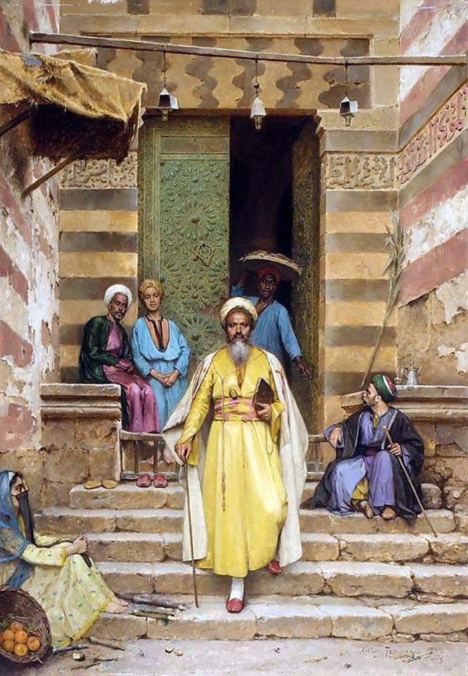 The Door Of The Mosque , Cairo 1889 By Arthur von Ferraris - Hungarian, 1856 -1936 Oil on panel , 64.7 cm X 46 cm