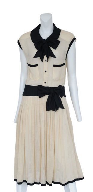 chanel gowns vintage | Resurrection Vintage › CHANEL-CREAM-KNIT-DRESS                                                                                                                                                     More