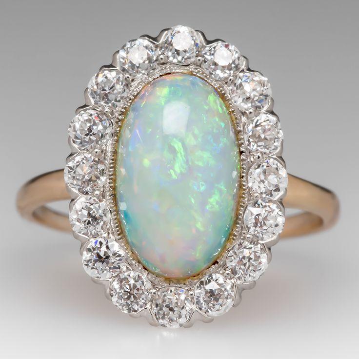 Victorian Crystal Opal & Old Euro Diamond Ring 18K