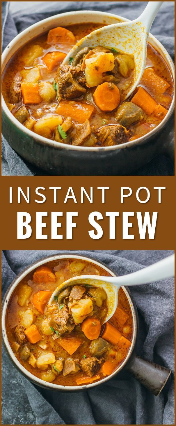 I love this Instant Pot beef stew: it's an easy-to-make basic beef stew with onions, carrots, potatoes, and mushrooms. thick beef stew recipe, pot roast, beef bourguignon, beef barley soup, crock pot recipes, stove top, clean, best, pioneer woman, paleo, quick, slow cooker, dutch oven via @savory tooth