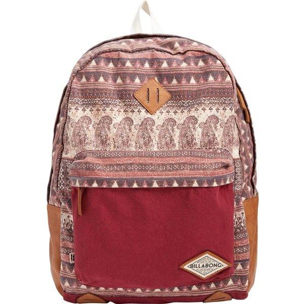 Billabong Women's Hidden Trek Backpack (£19) ❤ liked on Polyvore featuring bags, backpacks, accessories, mystic maroon, knapsack bag, rucksack bag, colorblock backpack, red backpack and billabong backpack