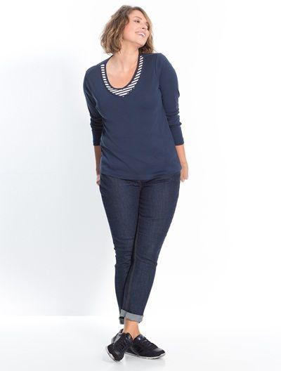 Toujours au top de la mode, le slim fait partie de notre dress-code de la saison. Avec ses hanches larges, ce jean s'adapte à notre morpho et assure toujours la dégaine !