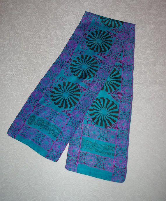 1972 Olympics Scarf, Munich Germany, Long Silk Scarf, Blue and Fuchsia Scarf, Indian Silk Scarf, Silk Scarf, Vintage Scarf
