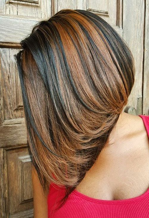 brown bob sew in with caramel highlights