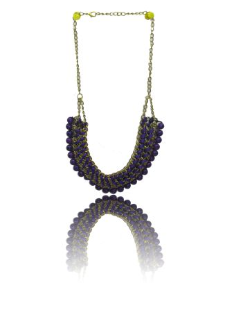Purple Chain and rope braided necklace