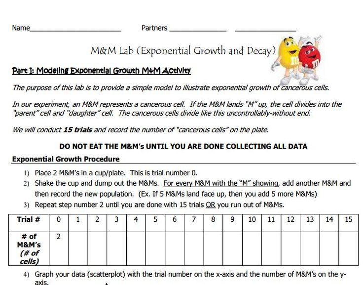 Hands on simulation of Exponential Growth & Decay with M&M's.  Did with an extremely low group of high school Algebra students and the data collection part worked well.
