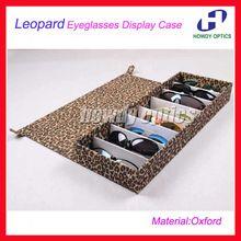 Free Shipping Leopard Oxford Fabric Eyeglass Eyewear Sunglasses Display Case Tray Storage box Display Hold 8pcs of glasses 8G(China (Mainland))