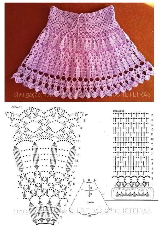 217 best Polleras crochet images on Pinterest   Faldas, Ropas de ...