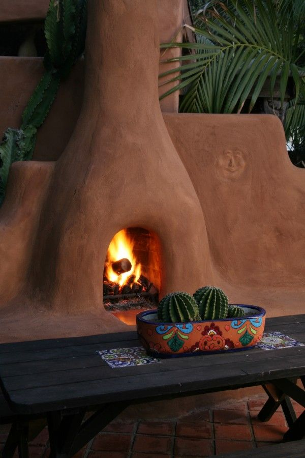 Adobe Style Fireplace. San Diego beach rental. Outdoor living.