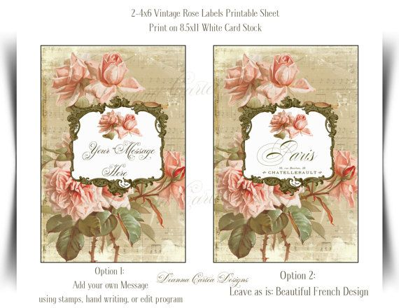 Shabby Chic 4x6 Printable Labels DIY Tags by DeannaCartea on Etsy