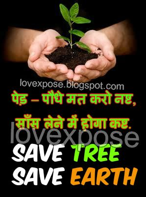 Save Tree Hindi slogan for Earth Day Environment - Lovexpose wallpaper love sms…