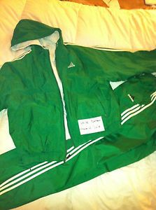 Adidas-Vintage-Green-Nylon-Tracksuit-Jacket-and-Pants-Size-XL