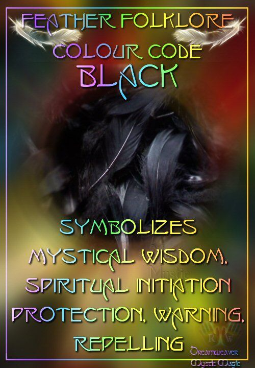 Black Feathers - :  Symbolizes mystical wisdom, spiritual initiation, protection, warning, repelling