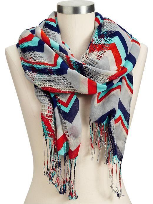zig zag print open weave scarf.