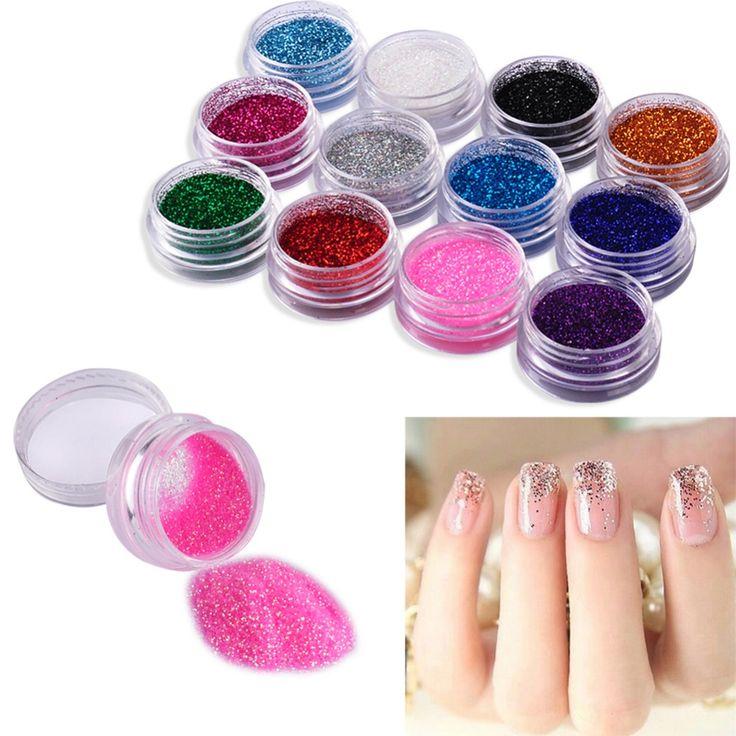 12 Color Nail Glitter Powder Decor Nail Art Powder Sparkly Dust Acrylic UV Powder Dust gem Polish Nail