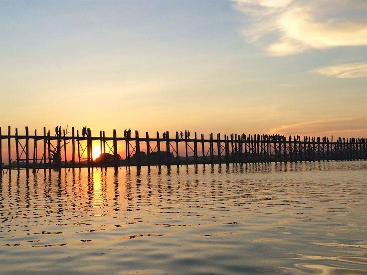 Sunset over U Been Bridge, Myanmar
