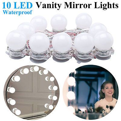 Hollywood Style LED Makeup Vanity Mirror Lights Kit with Dimmable Light Bulbs