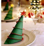 Buying holiday napkin rings--or even using them--may seem a bit extravagant for most families. But making this version, which turns paper napkins into Christmas trees, is easy enough to inspire the indulgence. Children who can cut and glue will be able to make these on their own after you demonstrate the first one.