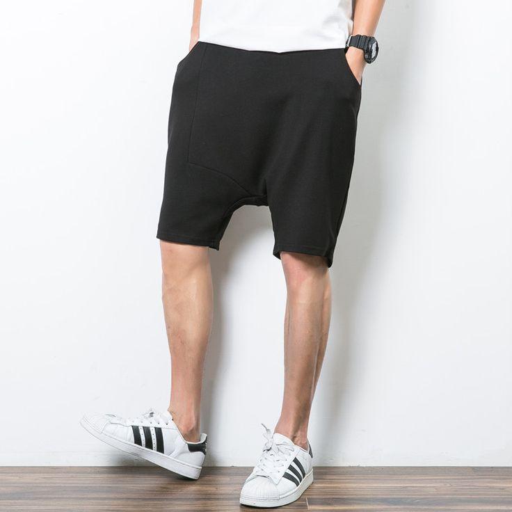 Loose Style Men Shorts Black Summer Casual Shorts Male Harem Design Hip Hop Bottoms Men Plus Size 5XL Clothing Man #Affiliate