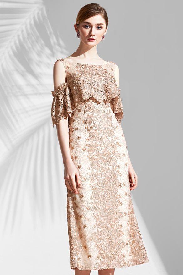 Robe champagne en dentelle guipure florale mi longue épaule dégagé pour  gala soirée - Robedesoireelongue. f6f4573ff25