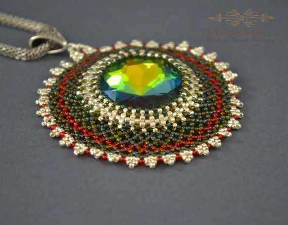 Colored necklace braided necklace crystal necklace by SzkatulkaAmi