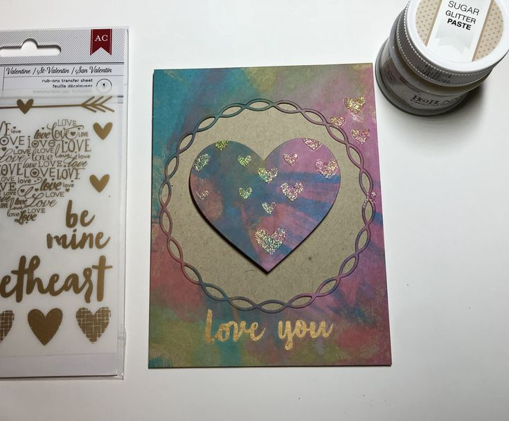 Distress oxides on kraft - interesting! #simonsaysstamp large falling hearts stencil #bobunny sugar glitter paste, #mft linked chain circle circle frame die, sss heart die, love you rub on from #americancrafts included in sss valentine card kit #sssflickrchallenge #distressoxide #stencil