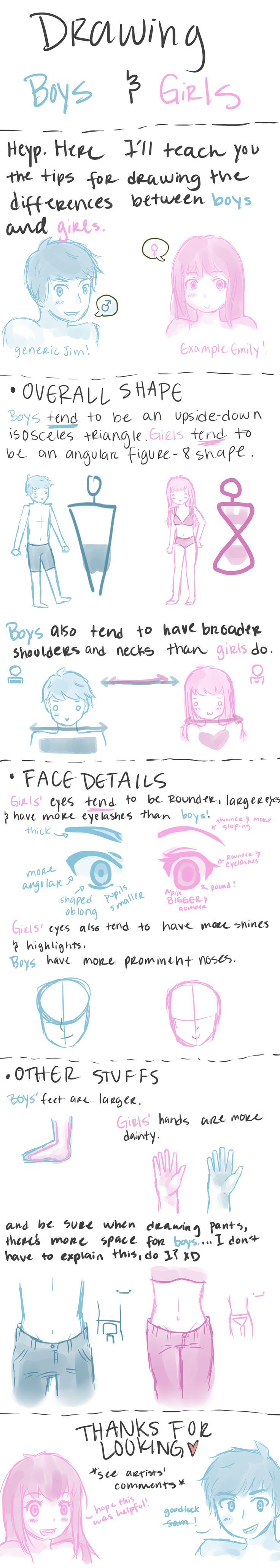 Boy and Girl Drawing Tips by Arcky-Cano.deviantart.com on @DeviantArt