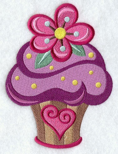 Valentine heart embroidered cupcake fabric by RockyMountainstitch, $6.00