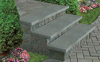 Cambridge cast stone treads are an ideal alternative to bluestone stair treads, clay brick and poured concrete.