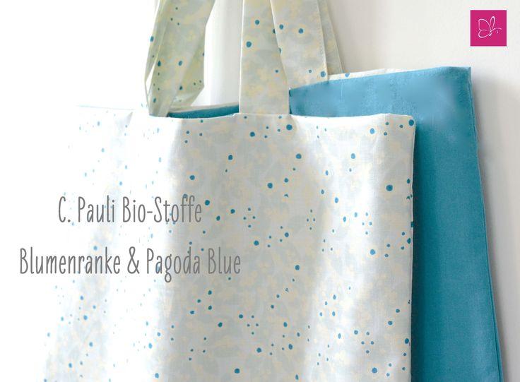 """Erfrischende Kombination aus der Stoff-Kollektion von C. Pauli:  """"Blumenranke""""  """"Pagode Blue"""" aus 100 % Bio-Baumwolle"""