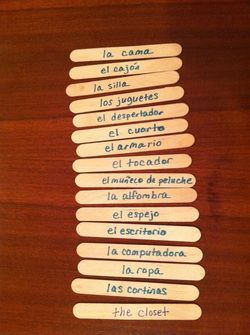 Kids of all ages love this game, from 3rd grade up through high school. See how fast the whole class can get through the sticks. Learn how here: http://www.spanish-for-you.net/spanish-for-you-blog/popsicle-stick-spanishvocabulary-game