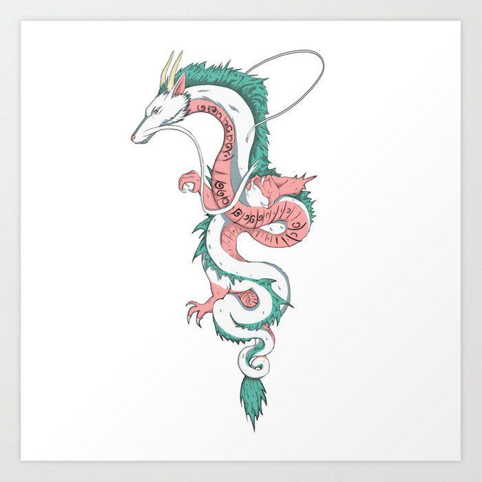Haku Art Print By Autoboxdesign Society6 Ghibli Tattoo Dragon Illustration Studio Ghibli Tattoo