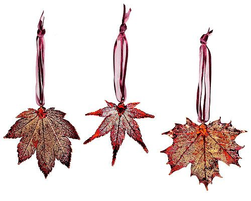 Look what I found at UncommonGoods: real maple leaf ornaments - set of 3...