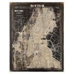 "45 in. x 35.5 in. ""Map of New York"" in Black/Cream Framed Wall Art"