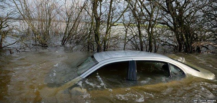 car in the floods in Somerset, January 2014