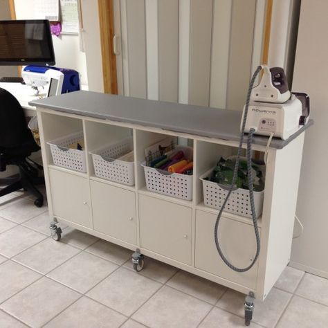 Pressing Station | IKEA Hack. I've been following online posts regarding sewing room organization for a while. I recently upgraded my storage, but still hadn't found a solution for storing my current projects, nor …