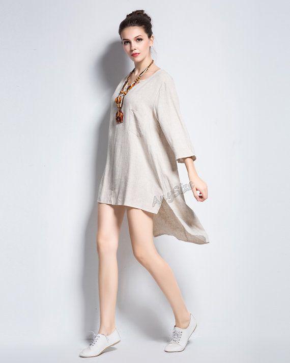 Anysize blouse design coconut buttons linen dress plus size dress plus size tops plus size clothing spring autumn summer dress clothing Y134